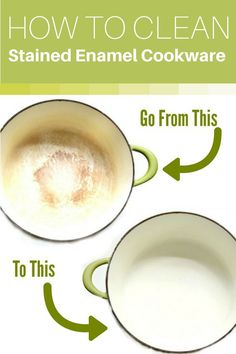 How to Make Stained Enamel Cookware White Again! Got Stained enamel cookware and can't get it clean with regular dish soap or your dishwasher? Here's how to get it bright and white again the easy way! Deep Cleaning Tips, House Cleaning Tips, Spring Cleaning, Cleaning Hacks, Diy Hacks, Cleaning Products, Cleaning Spray, Cleaning Recipes, Green Cleaning