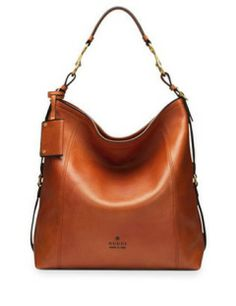 GUCCI Harness Leather Hobo Bag, Burnt Orange