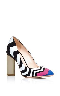 This pump by Nicholas Kirkwood is rendered in chevron printed leather with purple and blue accents and a platino heel. Preorder now on Moda Operandi
