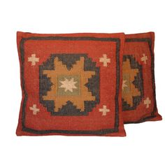 Traditional Wool/Jute Tribal Indo Kilim Pillows (Set of Two) - Overstock™ Shopping - for living room.