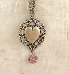 Valentine Necklace Lace Heart Pendant Victorian Heart Pink Rhinestone Flower Art Deco Gift for Her - Scarlett by laurenblythedesigns on Etsy https://www.etsy.com/listing/217074602/valentine-necklace-lace-heart-pendant