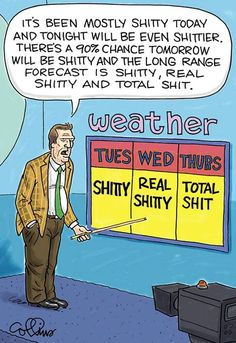 Funny shitty weather forecast cartoon
