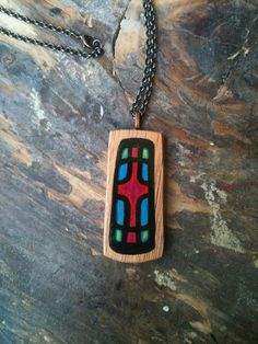 Hand Painted Wood Cross Pendant by reznermiller on Etsy, $25.00
