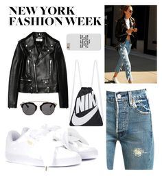 """New York Fashion Week ❤️"" by igson-r ❤ liked on Polyvore featuring Yves Saint Laurent, Levi's, Puma, NIKE, Christian Dior and NYFW"