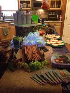 The food table at Brave birthday party