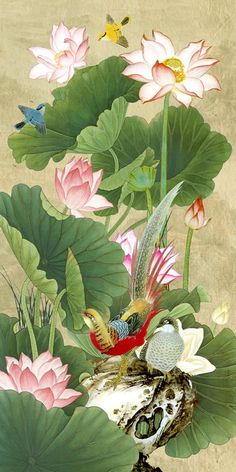 Beautiful Korean flower and bird illustration Japanese Painting, Chinese Painting, Japanese Art, Lotus Flower Art, Lotus Art, Lotus Painting, Art Japonais, China Art, Bird Art