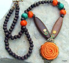 Украшения, цветы, ожерелье и серьги блох оранжевый коричневый атлас и древесины на хлопок, вощеный шнур