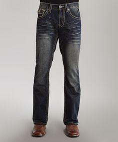 Blue Heavy Contrast-Stitch Flap Pocket Jeans