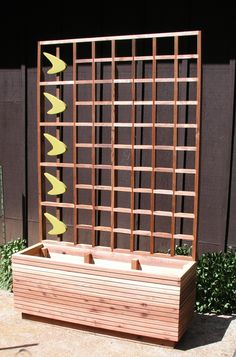 Mid Century Modern Commit Privacy Screen or Trellis Custom Privacy Planter, Privacy Screen Outdoor, Window Planter Boxes, Deck Privacy Screens, Privacy Trellis, Porch Privacy, Planter Box With Trellis, Wood Trellis, Privacy Landscaping