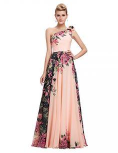 9a7b74d25fa GRACE KARIN Floral Print Graceful Chiffon Prom Dress for Women (Multi- Colored)