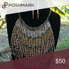 Handmade necklace and earring set Ombre fringe in earth tones Jewelry Necklaces