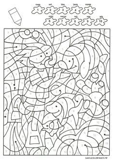 coloriage Un plongeur et des poissons avec 10 couleurs