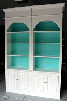 You can paint the back inside of shelving a different color than the rest of the furniture. It creates more interest and will draw the eye to whatever you are showcasing on the shelves.