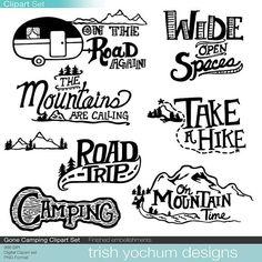 Mountain Clipart Digital, Camping Outdoor Adventure Clipart, Scrapbook PNG…