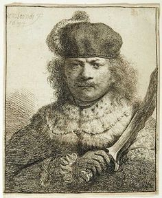 Rembrandt self portrait  Role-playing in Self-portrait as an oriental Potentate with a Kris, etching, 1634.