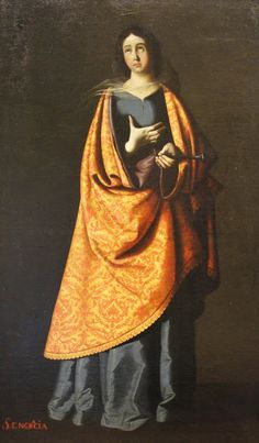 """Saint Engracia"" by Francisco de Zurbarán (1598-1664) - ""He worked for churches & monasteries over a wide area of southern Spain and his paintings were also exported to South America. His simple compositions & emotionally direct altarpieces, combining austere naturalism with mystical intensity, made him an ideal Counter-Reformation painter."""