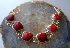 Mexican sterling silver and Red Jasper Toggle by art4u2buy on Etsy, $199.00