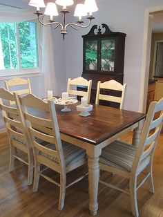 The Old White Cottage: Dining Room Table Honey Pine Table refinished with a dark walnut top and distressed painted legs.