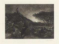 Samuel Palmer (English, 1805-1881) 'The Lonely Tower'