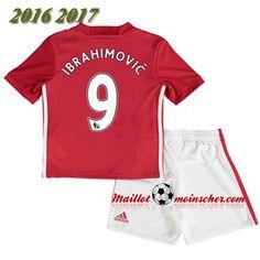 Manchester United Maillot Foot Enfant Rouge Nouveau Ibrahimovic 9 Domicile 2016/2017: Personnalisable
