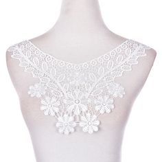 2017 1PCS 100% Polyester Off White Floral Lace Collar Fabric Trim DIY Embroidery Lace Fabric Neckline Applique Sewing Craft #Affiliate