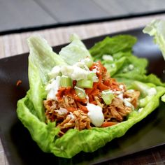 Slow Cooker buffalo chicken lettuce wraps--Made this as a salad for lunches.  Really good--smells heavenly while cooking!  Served on romaine with shredded carrots, chopped celery, sliced red onion, crumbled blue cheese and ranch dressing.
