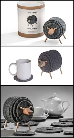 This Sheepad Felt Coasters Set will protect all your tables, countertops and furniture. #original #functional #ecofriendly #coasters