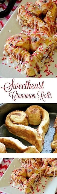 Sweetheart Cinnamon Rolls | Using store bought cinnamon rolls is all you need to create these fun festive Valentine's Day treats. For breakfast, a brunch or Valentine's Day party!