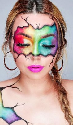 52 Young Girls New Favorite Colorful Makeup ideas. Page 5 52 Young Girls New Favorite Colorful Makeup ideas. Page If you want to have an idea about colorful makeup techniques, you should look. Eye Makeup Designs, Eye Makeup Art, Sfx Makeup, Eyeshadow Makeup, Eyeliner, Makeup Geek, Yellow Eyeshadow, Full Face Makeup, Rainbow Makeup