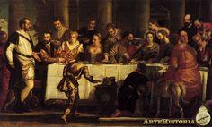 VERONÉS. Bodas de Caná. 1560. Museo del Prado. Escena en un palacio veneciano. Todas las figuras parecen retratos a la moda del Renacimiento, con ricos ropajes de seda y brocado. La estructura arquitectónica que sirve de fondo. Illuminados la izquierda. En primer plano se crea una sombra ocupada por figuras de espaldas para integrar al espectador del gusto del Manierismo. El autor fue requerido por la Inquisición al introducir elementos profanos.