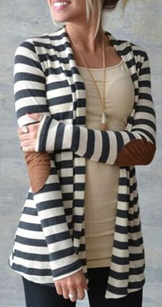 Enjoy fall fun with this casual cardigan. It features stripe print &elbow patches.Only &22.99 &free shipping in Romoti.com