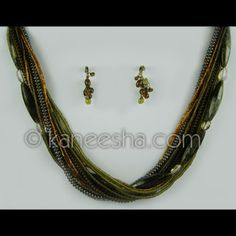 Earth Ton Beaded Necklace Set