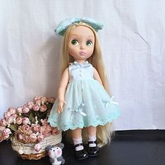 "New Disney Animator's Collection 16"" Cyan Dress + HairPin Baby Doll Clothes #Disney"