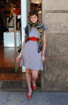 STREET STYLE: BARCELONA - striped dress, scarf