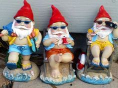 Gnomes hanging out on the beach