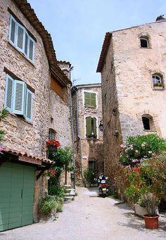 Tourtour ~ Provence Green doors + aqua blue shutte...