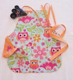 Preschool - Kindergarten Apron | Ages 2-8 Apron | Owls and Flowers Apron | Kitchen Helper Apron | Baking Apron | Handmade Reversible Item