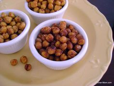 Sweet and Spicy Cajun Roasted Chickpeas - These are crunchy. A great substitute for chips.