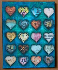 Heart Art  #3 Mixed Media Collage in the UnStrungSisters Shop