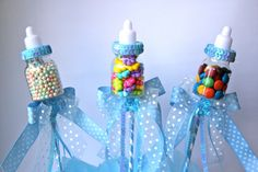 Baby Bottle Favors Picks or Sticks / Baby Shower Centerpiece Decoration / Blue Baby Bottle Party Decorations