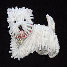 WESTIE LOVE beaded West Highland White Terrier dog pin pendant - Gift for Her (Made to Order)