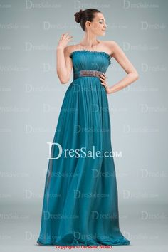 Elaborated Strapless Chiffon Column Evening Dress Featuring Delicate Ruches and Vintage Brooch