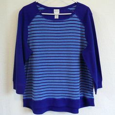 New Chico's Zenergy Reversible Sweatshirt Sz 2 L 12 14 Top Mysterious Blue NWT #Chicos #KnitTop #Casual
