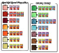 Kool-Aid Colorsilks fabric dye chart. Hell yeah, this was how I dyed my hair in 6th grade.