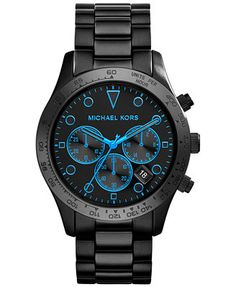 Michael Kors Womens Chronograph Layton Black Ion-Plated Stainless Steel Bracelet Watch 44mm MK6080