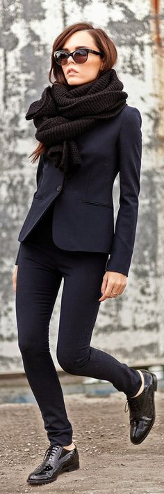 Classic Navy Look with Oversized Black Chunky Knit...
