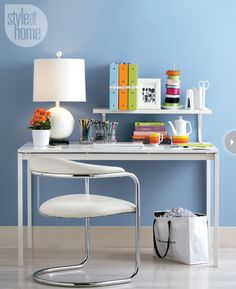 Free up desk space with this shelf, which has brackets that mount directly on your desk.