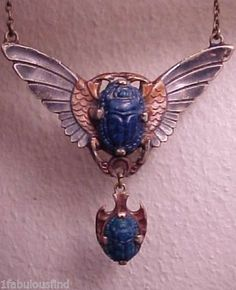 Antique Egyptian Revival Silver Winged Lapis Scarab Beetle Pendant Necklace