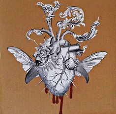 betrayed heart surreal anatomy collage art by bedelgeuse