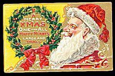 Merry Christmas Santa Claus in Wreath 1909 Postcard